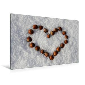 Premium Textil-Leinwand 90 cm x 60 cm quer Haselnuß-Herz