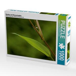 Bambus mit Wassertropfen 1000 Teile Puzzle quer