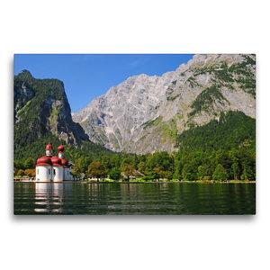 Premium Textil-Leinwand 75 cm x 50 cm quer Königssee