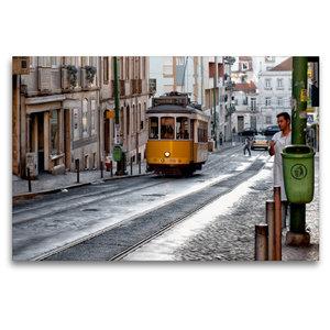 Premium Textil-Leinwand 120 cm x 80 cm quer Lissabon - Linie 21