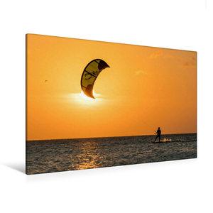 Premium Textil-Leinwand 120 cm x 80 cm quer Kitesurfen in den So
