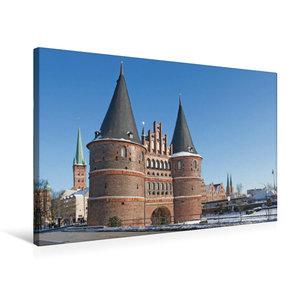 Premium Textil-Leinwand 75 cm x 50 cm quer Holstentor Lübeck