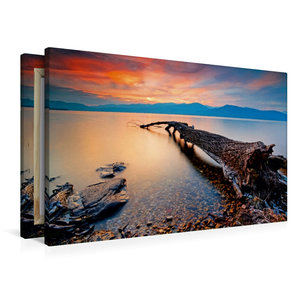 Premium Textil-Leinwand 90 cm x 60 cm quer Abend über dem Lago M