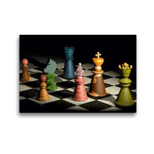 Premium Textil-Leinwand 45 cm x 30 cm quer Bunte Schachfiguren -