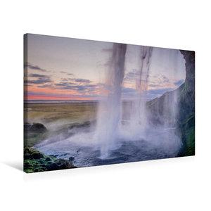 Premium Textil-Leinwand 75 cm x 50 cm quer Wasserfall Seljalands