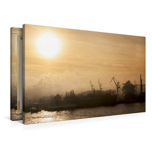Premium Textil-Leinwand 90 cm x 60 cm quer Nebel im Hafen