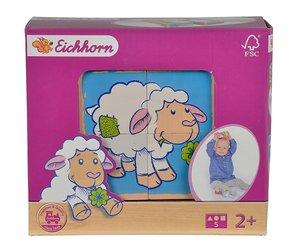 Eichhorn 100005804 - Schaf Linie, Bilderwürfel, bunt