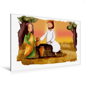 Premium Textil-Leinwand 120 cm x 80 cm quer Jesus bittet Samarit