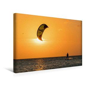 Premium Textil-Leinwand 45 cm x 30 cm quer Kitesurfen in den Son