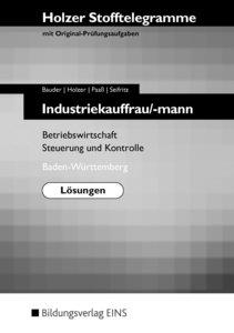 Stofftelegramm Industriekauffrau/mann. Lösungen. Baden-Württembe