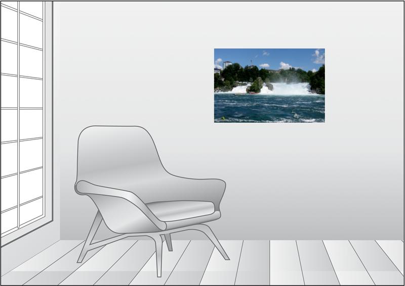 Premium Textil-Leinwand 75 cm x 50 cm quer Der Rheinfall - zum Schließen ins Bild klicken
