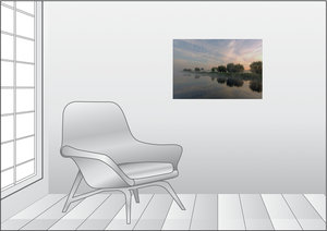 Premium Textil-Leinwand 75 cm x 50 cm quer Nebelzauber am Elbe L