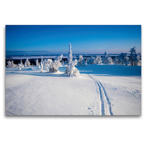 Premium Textil-Leinwand 120 cm x 80 cm quer Skispur in die Ferne