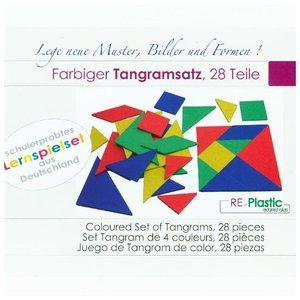 farbiger Tangramsatz, 28 Teile aus RE-Plastic°