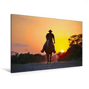 Premium Textil-Leinwand 120 cm x 80 cm quer Ein Cowboy reitet in
