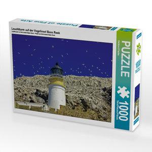 Leuchtturm auf der Vogelinsel Bass Rock 1000 Teile Puzzle quer
