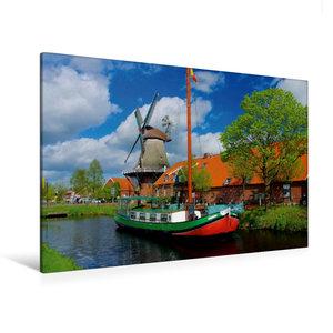 Premium Textil-Leinwand 120 cm x 80 cm quer Mühle Ostgroßefehn