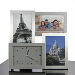 Bilderrahmen 3D Aluminium mit Uhr