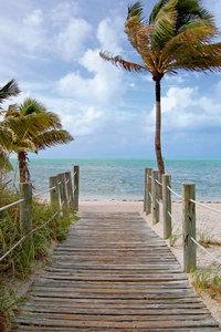 Premium Textil-Leinwand 80 cm x 120 cm hoch Key West Beach Flor