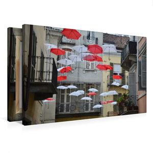 Premium Textil-Leinwand 75 cm x 50 cm quer schwebende Schirme