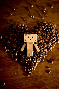 Premium Textil-Leinwand 60 cm x 90 cm hoch I love Coffee!