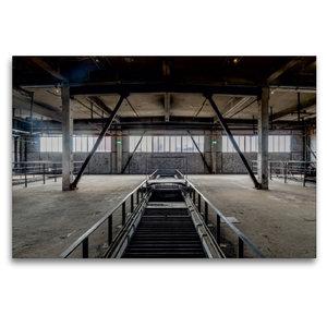 Premium Textil-Leinwand 120 cm x 80 cm quer Halle mit Förderbänd