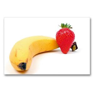 Premium Textil-Leinwand 90 cm x 60 cm quer Banane mit Erdbeere
