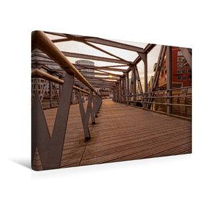 Premium Textil-Leinwand 45 cm x 30 cm quer Brücke Hafencity