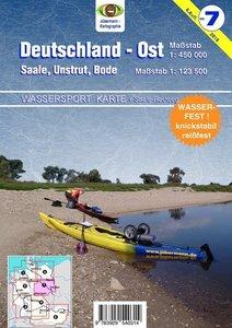 Wassersport-Karte / Deutschland Ost für Kanu- und Rudersport