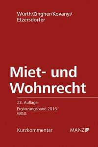 Miet- und Wohnrecht ERGÄNZUNGSBAND 2016 WGG