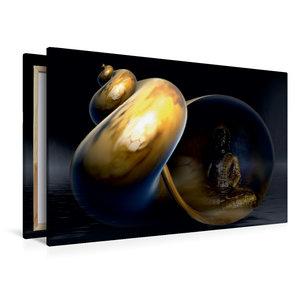 Premium Textil-Leinwand 120 cm x 80 cm quer Buddha und Yin Yang