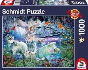 Wölfe im Winterwald (Puzzle)