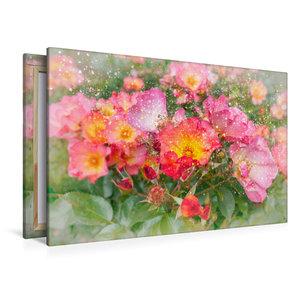 Premium Textil-Leinwand 120 cm x 80 cm quer Romantische Heckenro