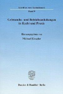 Gebrauchs- und Betriebsanleitungen in Recht und Praxis