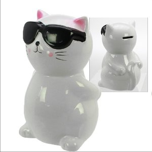 Spardose Keramik Katze mit Sonnenbrille