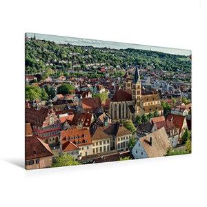 Premium Textil-Leinwand 120 cm x 80 cm quer Altstadt Esslingen a