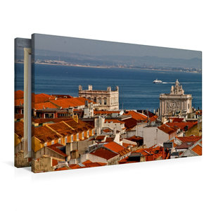 Premium Textil-Leinwand 90 cm x 60 cm quer Blick über Lissabon