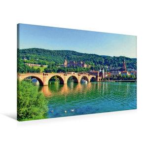 Premium Textil-Leinwand 90 cm x 60 cm quer Schloss Heidelberg un