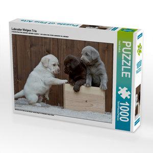 Labrador Welpen Trio 1000 Teile Puzzle quer