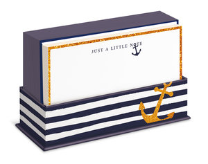Flat Notes: Navy Anchor - Briefkarten mit Kuverts für vielfältig