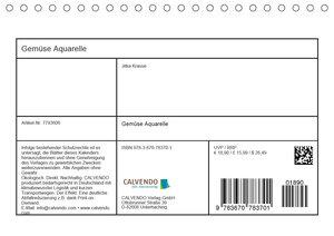 Gemüse Aquarelle (Tischkalender 2020 DIN A5 quer)