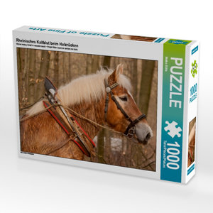 Rheinisches Kaltblut beim Holzrücken 1000 Teile Puzzle quer