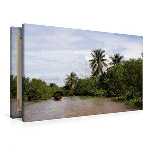 Premium Textil-Leinwand 90 cm x 60 cm quer Im Mekong Delta