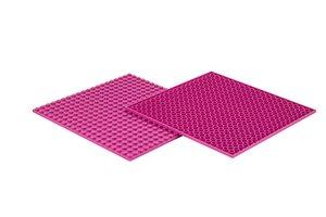 4x Bauplatte magenta 20x20 Noppen, 16x16xcm - Basis für Spielzeu