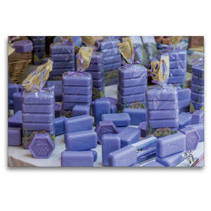 Premium Textil-Leinwand 120 cm x 80 cm quer Lavendelseife