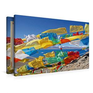 Premium Textil-Leinwand 90 cm x 60 cm quer Bunte Gebetsfahnen am