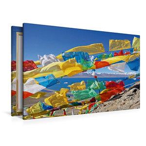 Premium Textil-Leinwand 120 cm x 80 cm quer Bunte Gebetsfahnen a