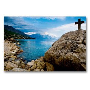 Premium Textil-Leinwand 90 cm x 60 cm quer Adriatische Küste bei