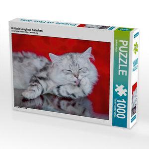 Britisch Langhaar Kätzchen 1000 Teile Puzzle quer