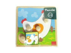 Jumbo D53066 - Huhn, Holzpuzzle 4-teilig